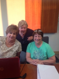 Three hard-working reunion committee members, L-R: Shirley Miranda Walker, Donna Peterson Peter, Donna Adams Kowalewski.